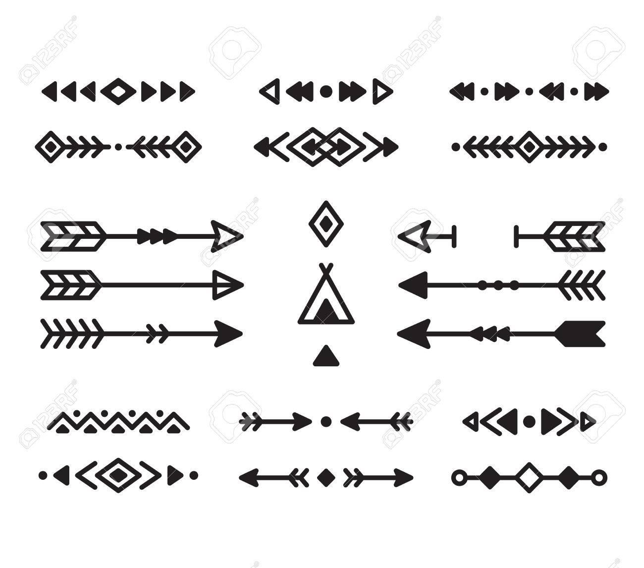 Native American Indian design elements set. Borders, arrows,...