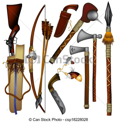 Clip Art of set of weapons American Indian.