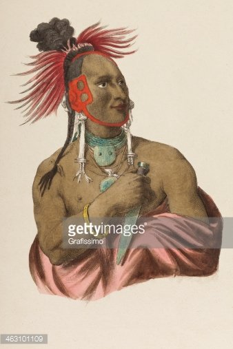 Native american tribal chief from 1849 Clipart Image.