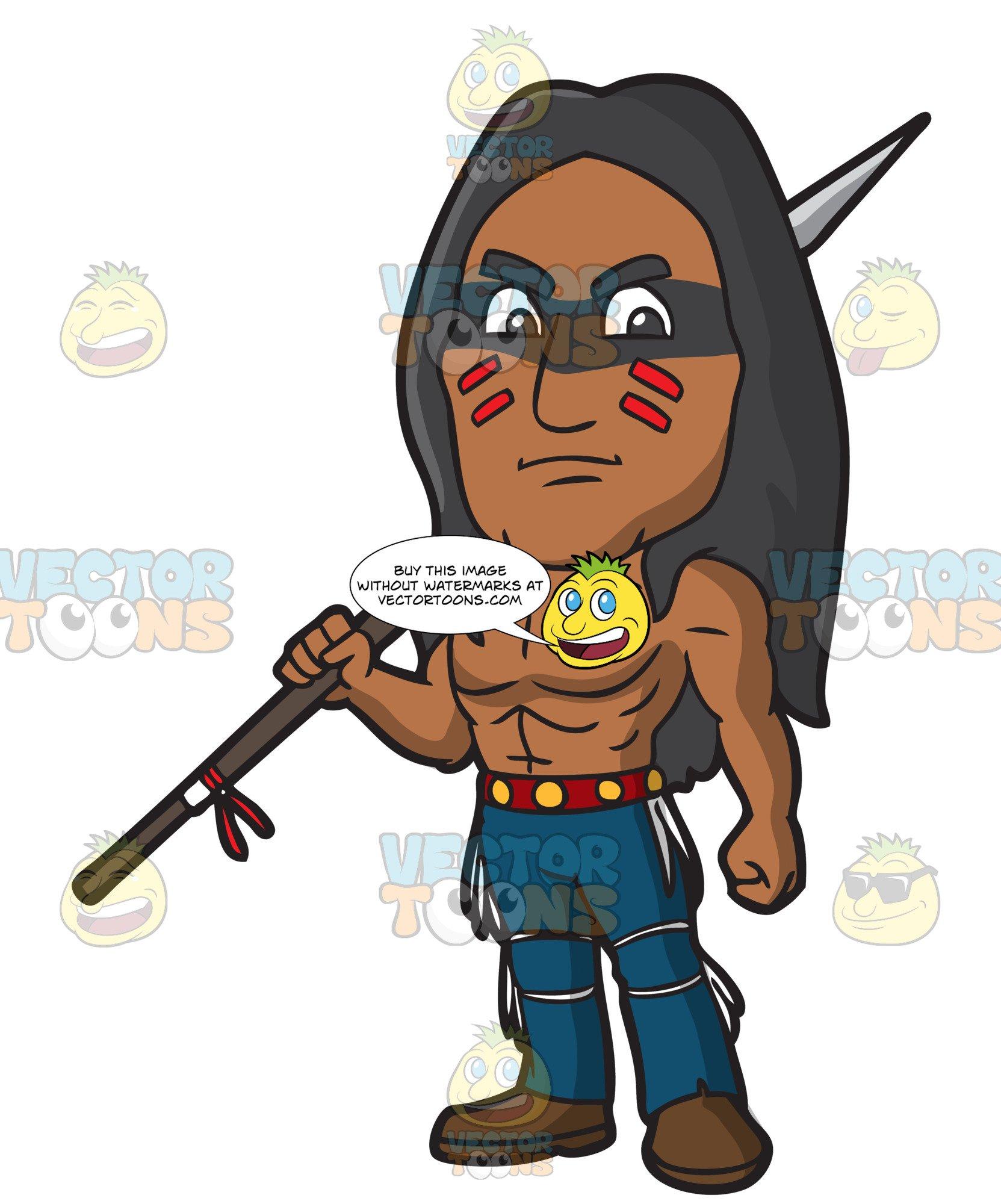 A Strong Native American Warrior.