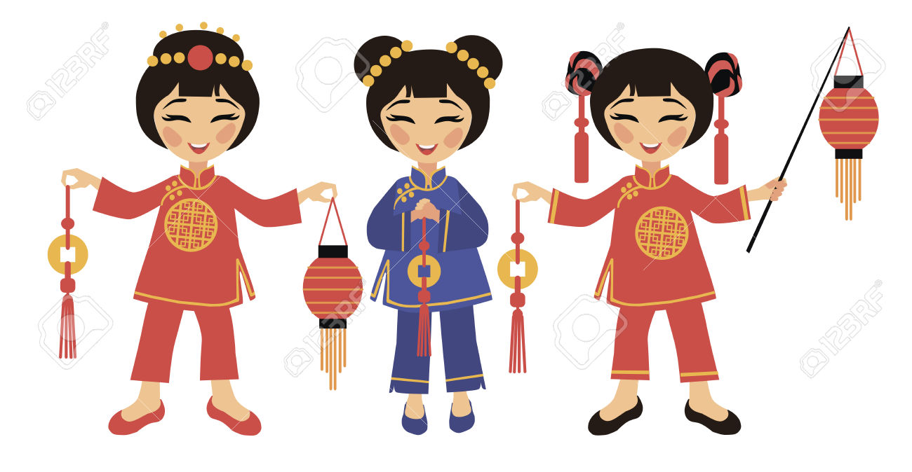 Chinease Girl Dress Clipart.