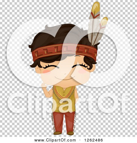 Clipart of a Cute Boy in a Native American Indian Costume.