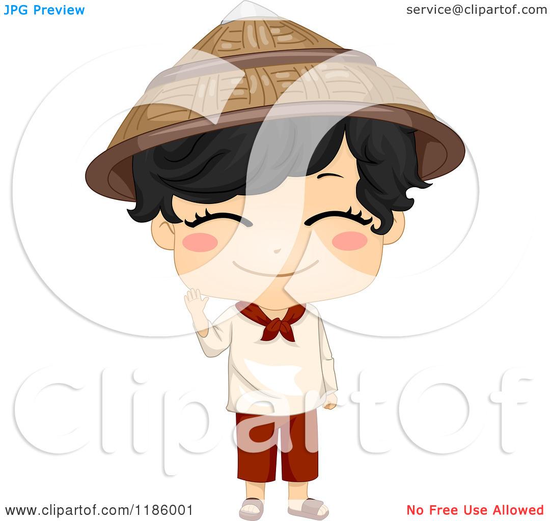 Cartoon of a Cute Filipino Boy Waving and Wearing a Traditional.