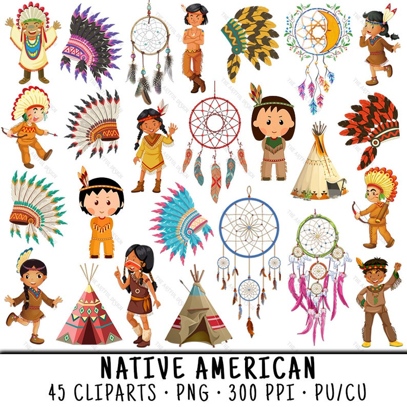 Native American PNG, Indian Clipart, Dreamcatcher Clipart, Indian Clip Art,  Native Indian PNG, Dreamcatcher PNG, Native American Kids.