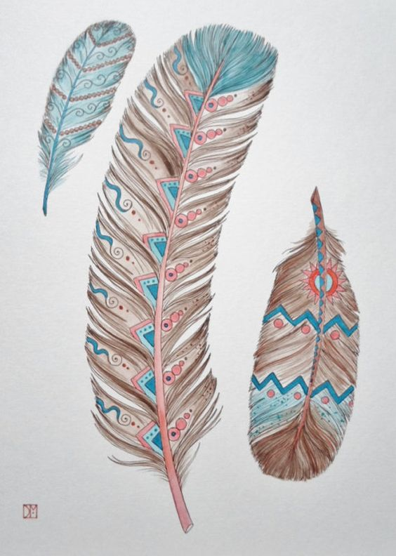 3 FeATheRs Native American Southwest Art Print 8 x 10 Peach Brown.