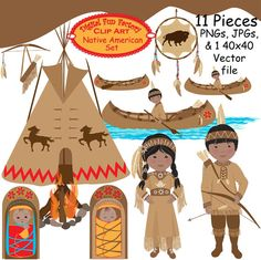 Tribal Clipart, Arrows Clip Art, Tribal Papers, Teepee Clipart.