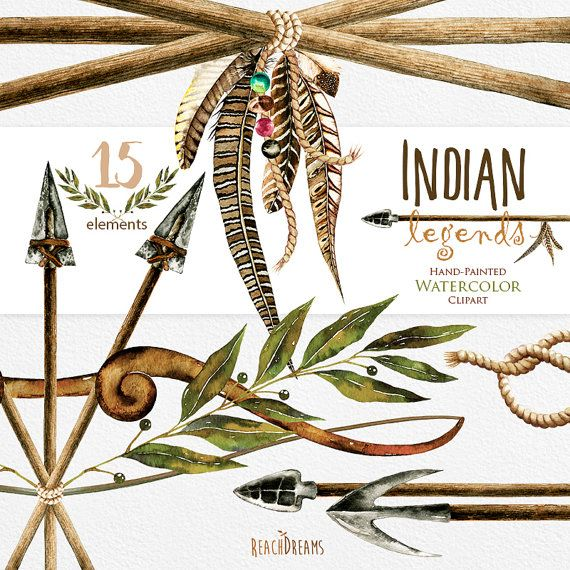legends. Watercolor Arrows Clipart, Tribal, Feathers, Boho, Indian.