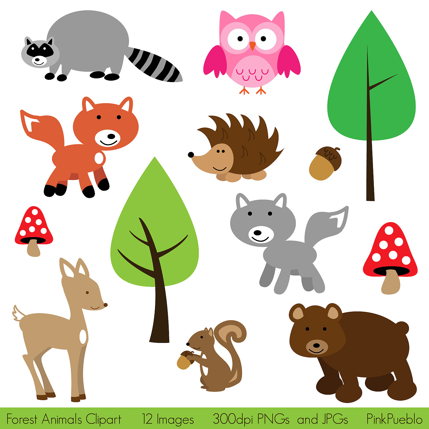 Woodland Animals clip art images, fox clip art, fox vector.