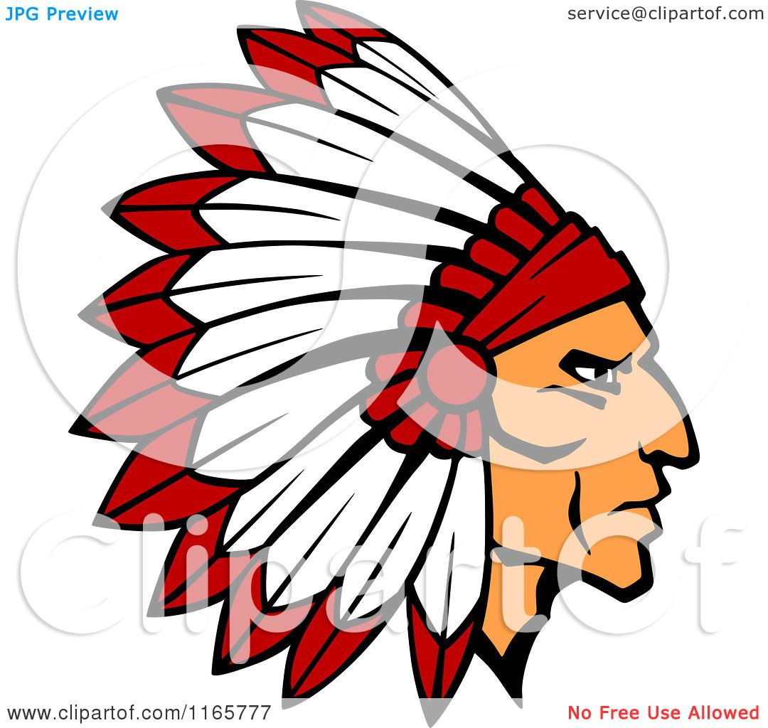 Clipart of a Native American Brave with a Red and White Feather.