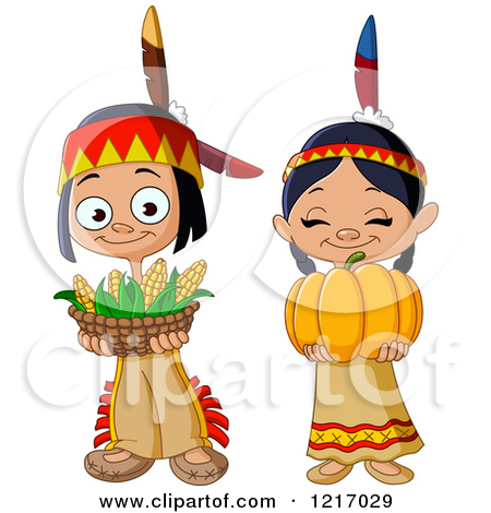 Clipart of Cute Thanksgiving Native American Indian Children with.
