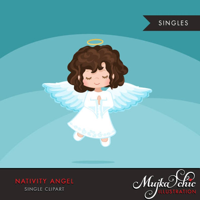 Nativity Angel Clipart. Christmas angel Brunette, holiday, illustration,  graphic, cute, character, religious, christian, holy, bible.