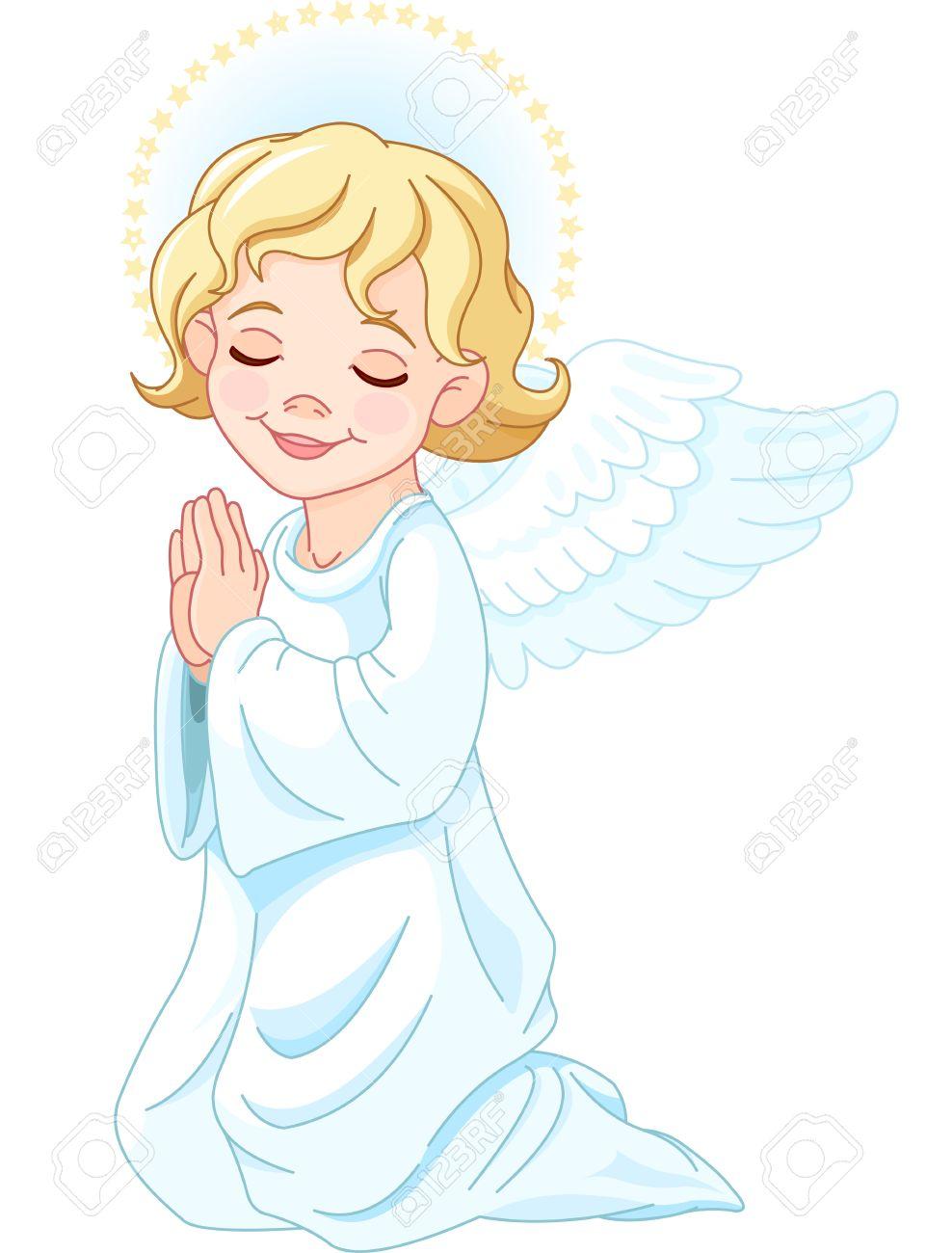Illustration of praying nativity Angel.