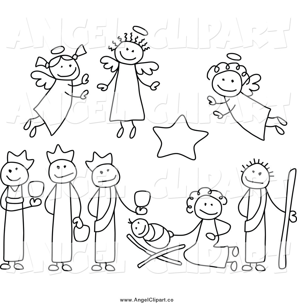 Royalty Free Nativity Clipart Black And White Clipart Images.