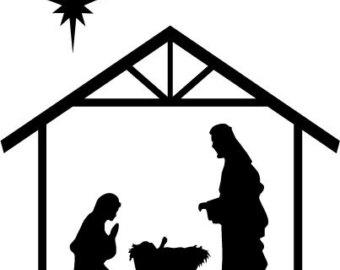 nativity black and white clipart - Clipground