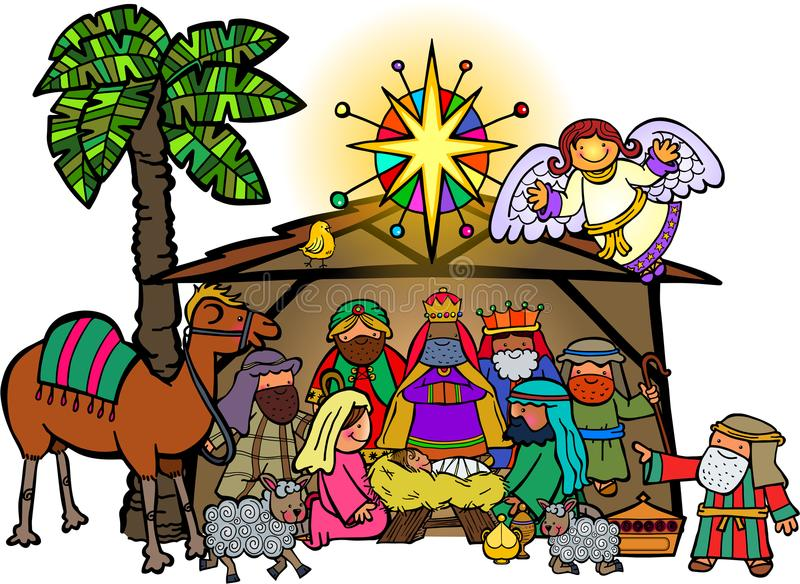 Cartoon Nativity Stock Illustrations.