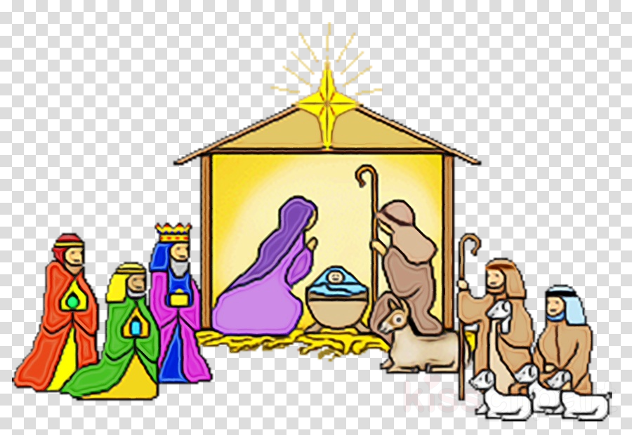 nativity scene cartoon clipart.