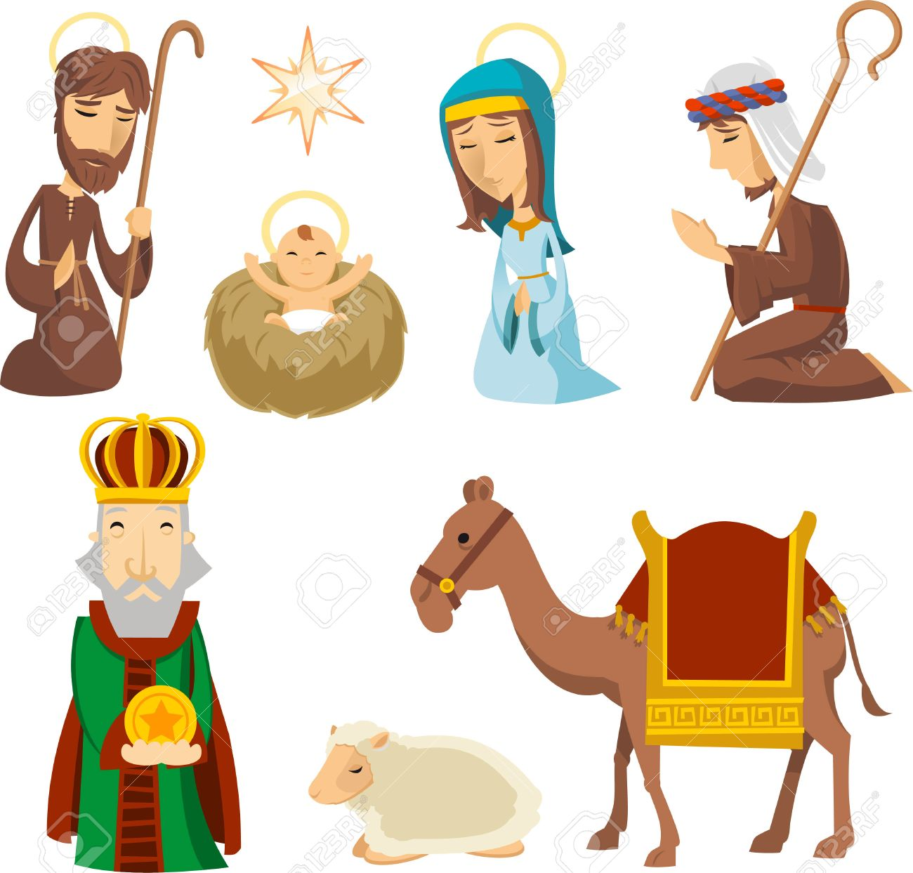 Nativity scene characters illustrations.
