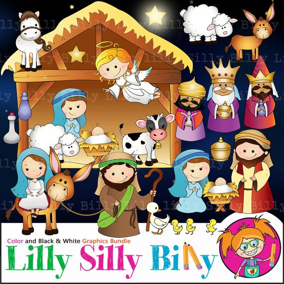 Nativity clipart, 45 Images: Christmas clipart in BLACK and WHITE and full  color. Wise men, Mary & Joseph, angel and baby Jesus..