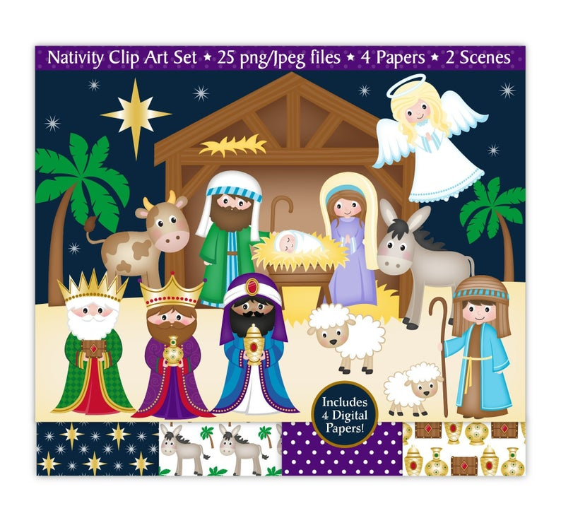 Nativity clipart, Nativity clip art, Christmas clipart, Mary, Joseph, Baby  Jesus, 3 kings,Angel,Stable,Christmas Papers,Commercial Use (C31).