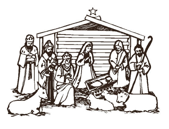 Christmas Scene Black And White Clipart#1872525.