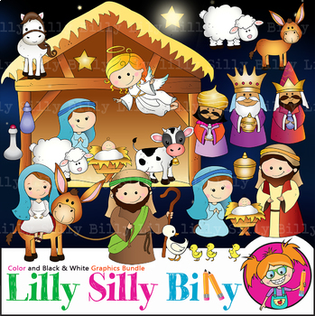 Nativity Clipart. BLACK AND WHITE & Color Bundle. {Lilly Silly Billy}.