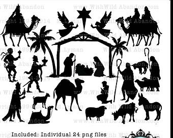 Nativity Clipart Silhouette Faces Clipground