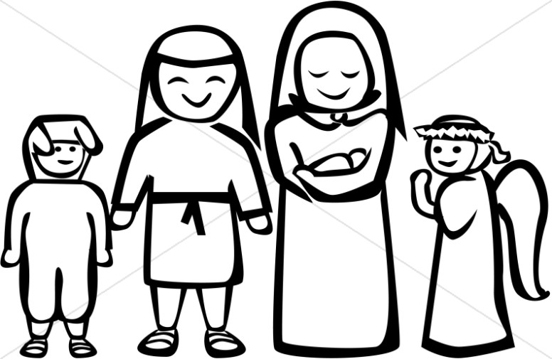 Black and White Nativity Play Clipart.