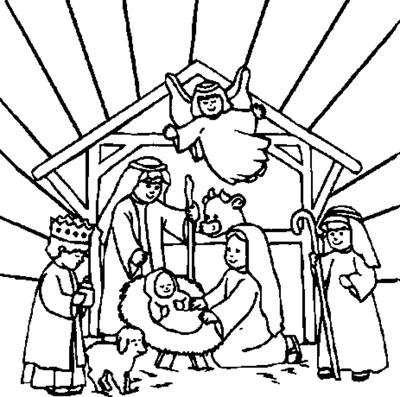 Free Nativity Scene Black And White Clipart, Download Free.