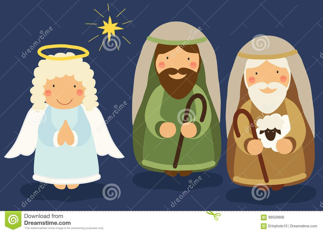 Cute Hand Drawn Characters Of Nativity Scene Stock Vector.