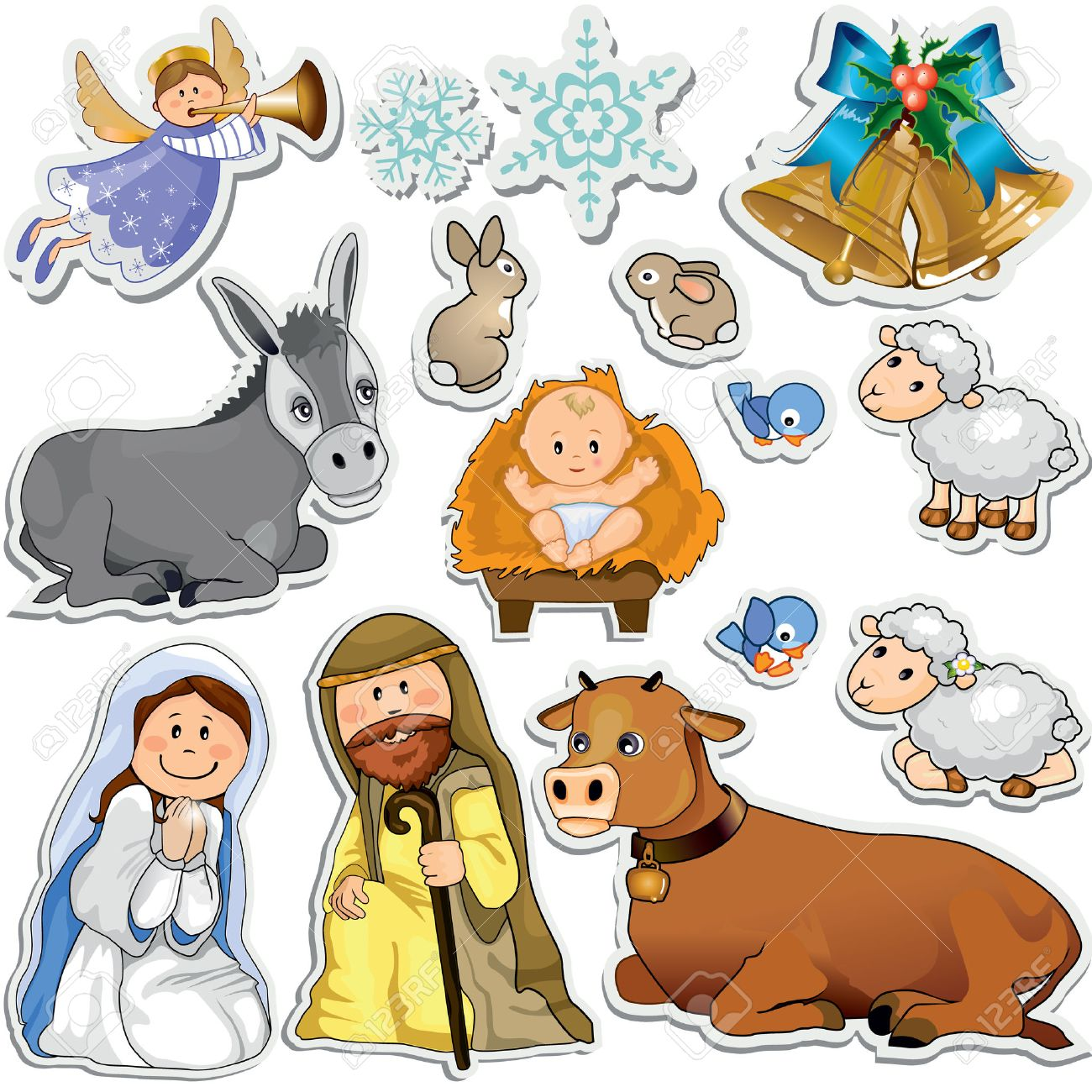 Set of Christmas stickers representing the characters of the...
