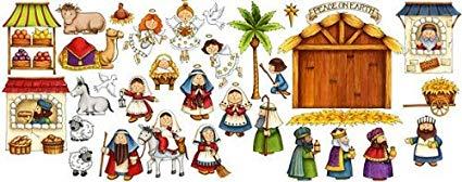 Nativity Scene Felt Figures for Flannel Board Stories Birth of Jesus  Christmas.