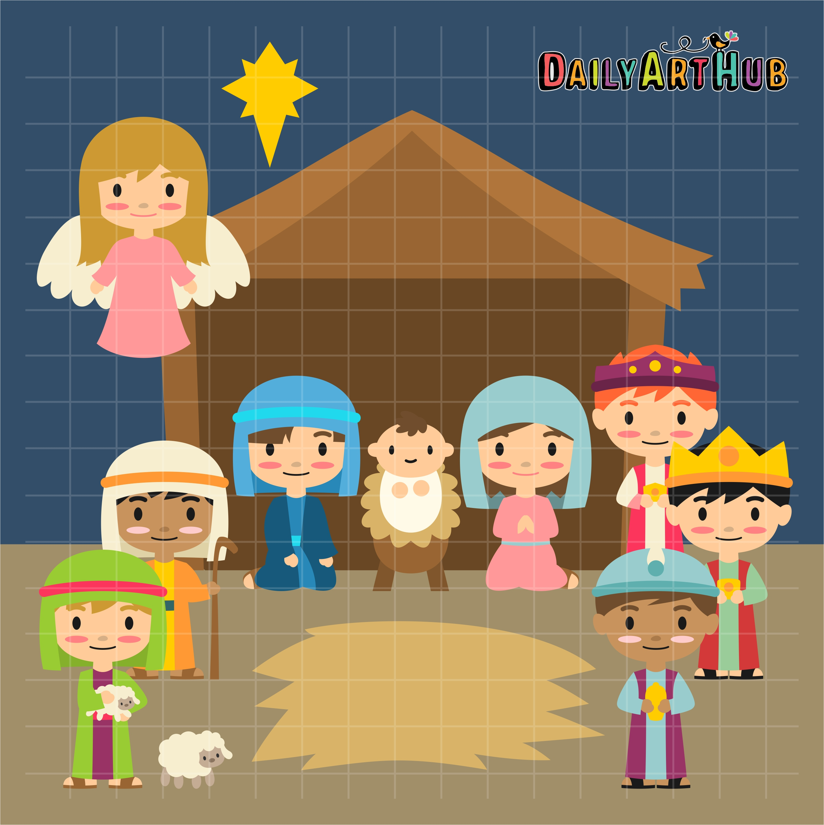 Nativity Scene Clip Art Set.