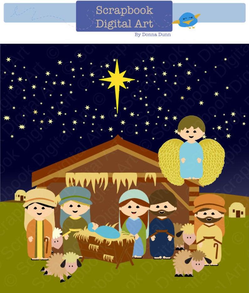 Nativity Scene Clip Art, Christmas Nativity Clipart, Navidad clipart,  Christmas Background Clipart, Nativity Set, Nacimiento. Angel..