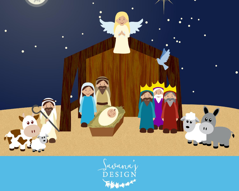 Nativity Clipart, nativity clip art, nativity scene clipart, nativity scene  clip art, nativity printable, manger clipart, Christmas clipart.