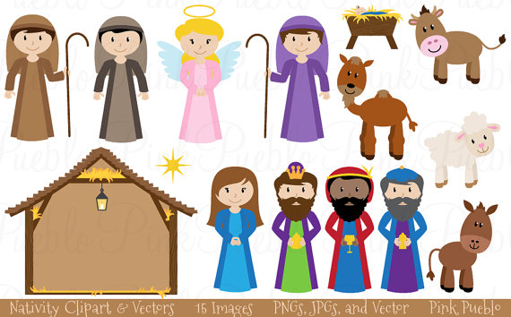 Nativity Clip Art Clipart Nativity Scene Clip Art by PinkPueblo.