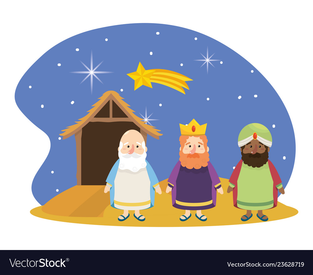 Christmas nativity scene cartoon.
