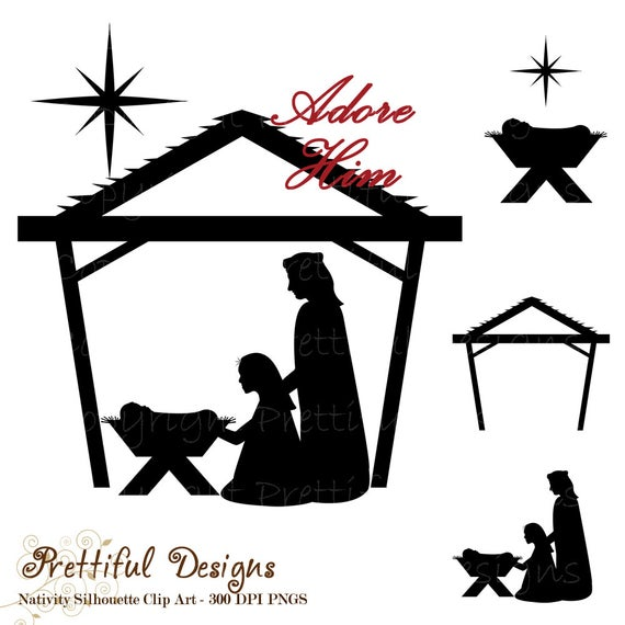 Nativity Silhouette Clip Art Christmas Clipart for Commercial Use.