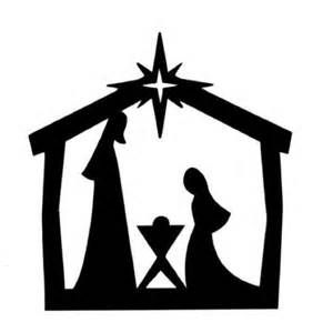 Printable Nativity Silhouette Clip Art.