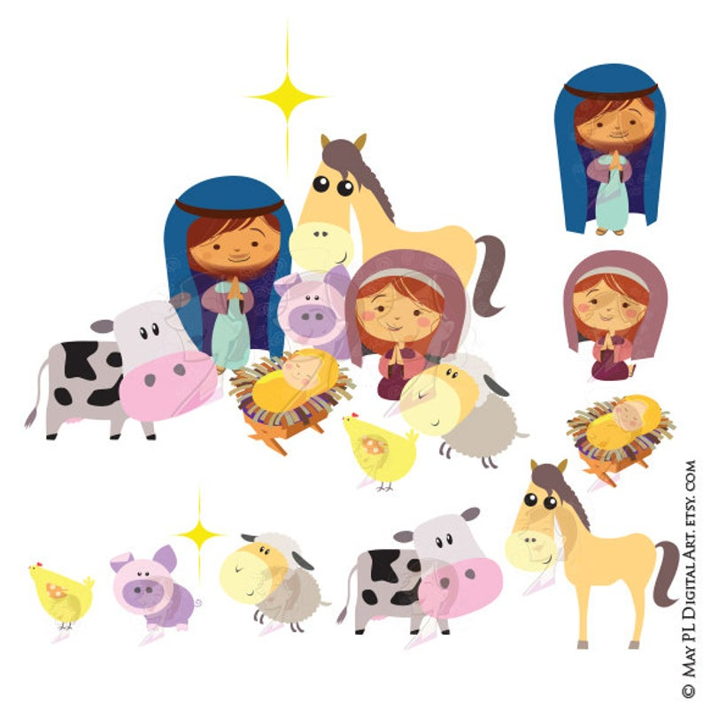 Christmas Nativity Stable Scene Baby Jesus Christ Birth Manger with Mary  Joseph and Barn Animals Clipart Cute Xmas Story Graphics 10528.