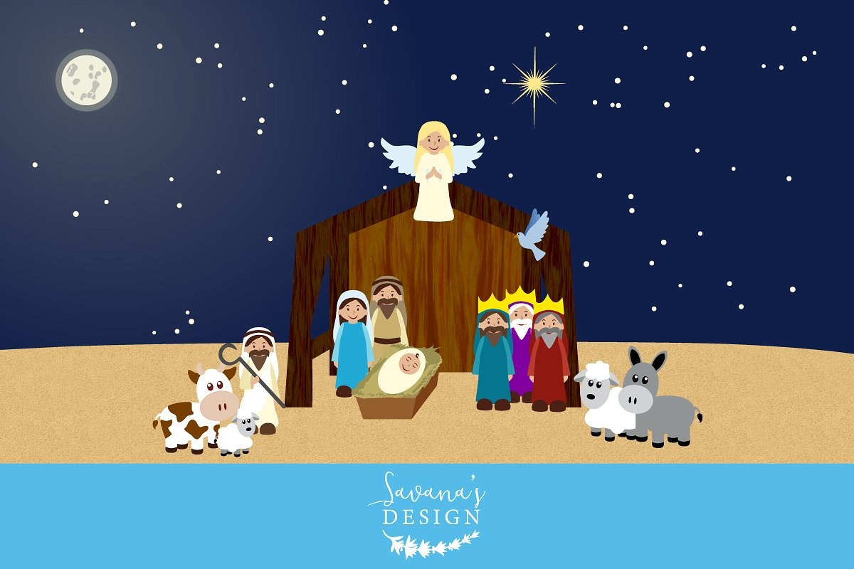 Nativity Clipart ~ Illustrations ~ Creative Market.