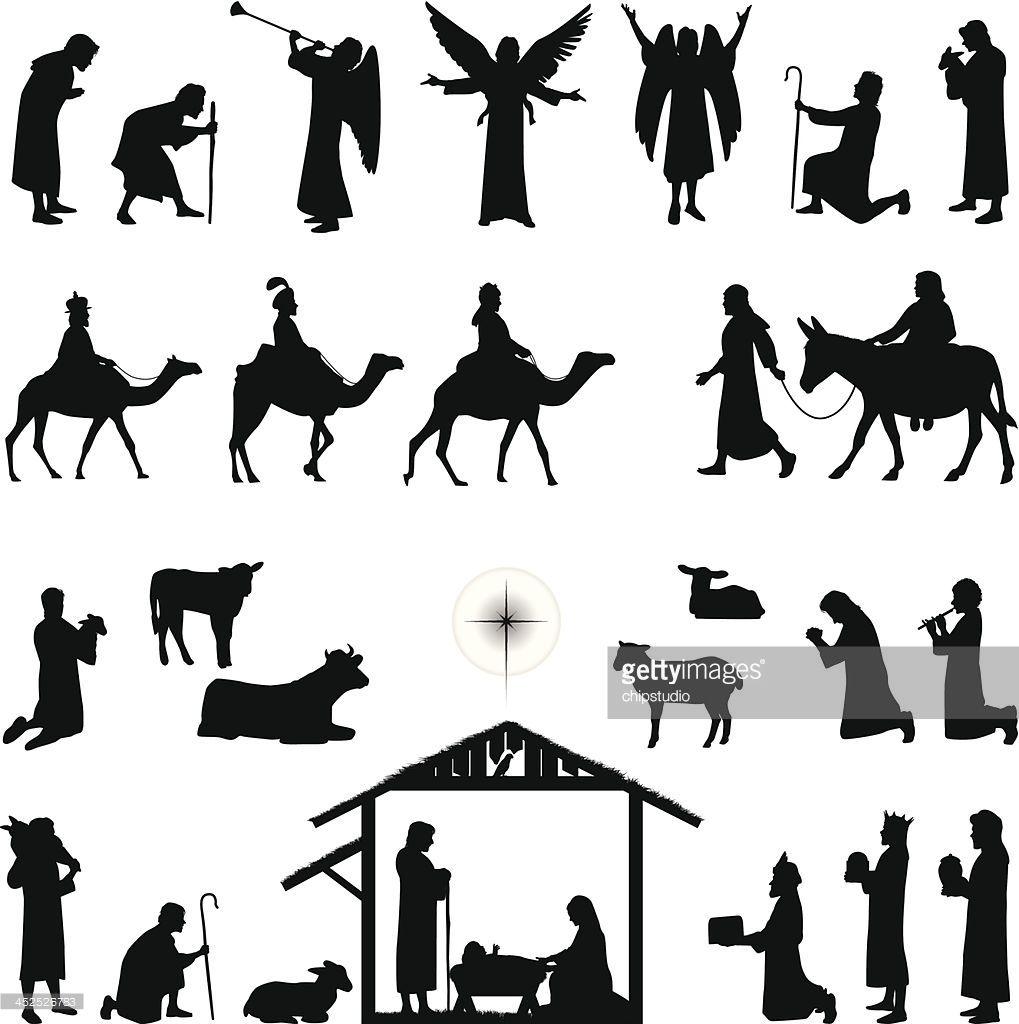 Nativity scene silhouettes. Files included.