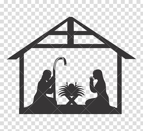 Graphics illustration Christmas Day, willow tree nativity.