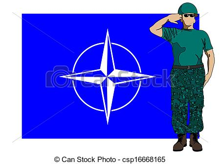Clip Art Vector of Nato flag and soldier.