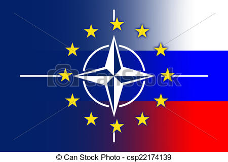Drawings of Nato, EU and Russia Flag csp22174139.