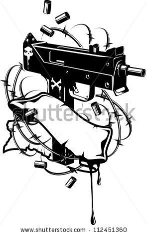 Vector Illustration Machine Gun Machinegun Tape Stock Vector.