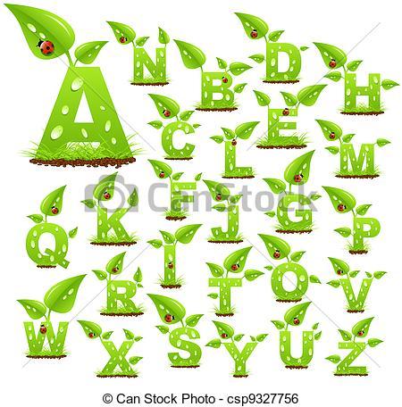 Clip Art de vectores de alfabeto, naturaleza.