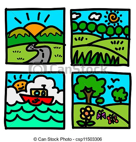 Vector Clipart of Nature view hand draw cartoon.Illustration.