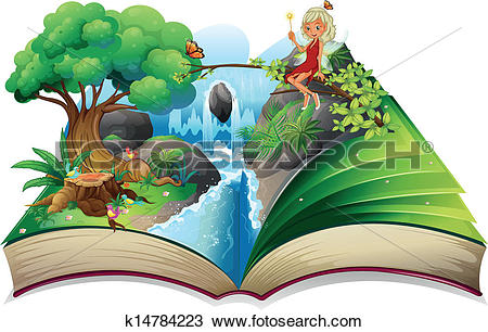 Clipart of A storybook with an image of nature and a fairy.
