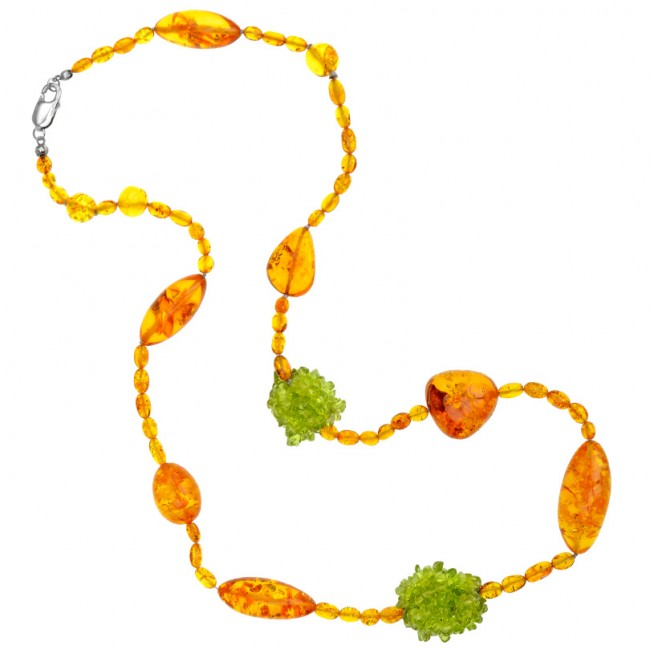 Designer Baltic Amber And Peridot Necklace.