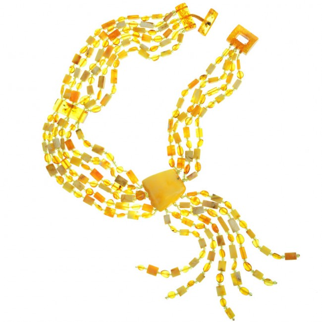 Polish Designer Masterpiece Necklace with Large Baltic Amber.